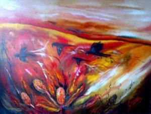 'Black Cockatoos, Sunset' - oil