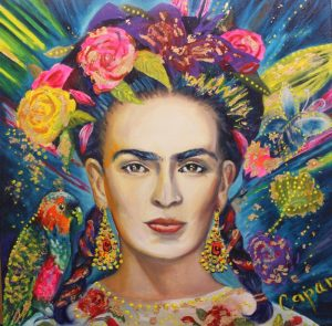 'Frida' embellished, oil with goldleaf